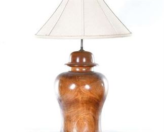 Contemporary Turned Wood Urn Table Lamp