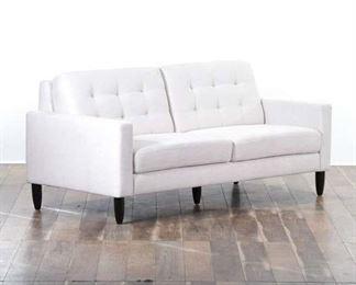 Contemporary Tufted Ivory Loveseat Sofa