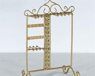 Scrolled Brass French Style Jewelry Rack