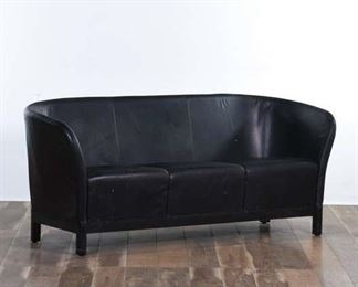 Contemporary Black Curved Back Loveseat