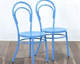 Pair Design Form Bentwood Style Metal Dining Chairs