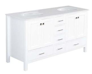 Cheshunt White Quartz Double Bathroom Vanity Set