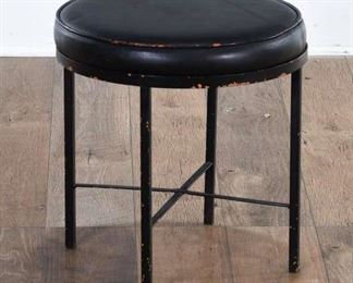 Modernist Bauhaus Style Black Round Stool
