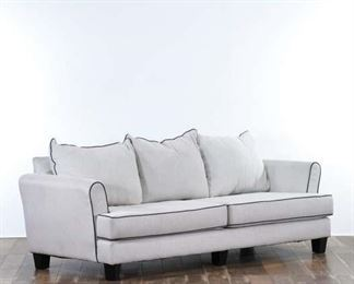 Contemporary Ivory Upholstery Sofa W Contrast Piping