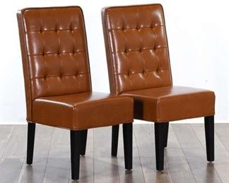 Pair Brown Tufted Back Dining Chairs 3