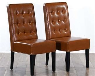 Pair Brown Tufted Back Dining Chairs 4