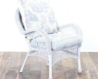 White Wicker Armchair W Toile Cushion