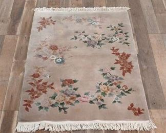 7'X4' Hand Tufted Pink Floral Area Rug