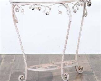 French Provincial Iron Console Table W Marble Top