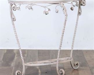 French Provincial Iron Console Table W Marble Top 2