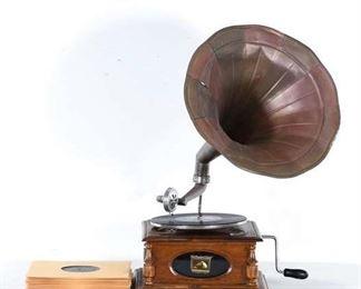 Antique Victrola His Master'S Voice Gramophone W 78'S