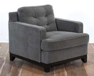 Slate Gray Thin Wale Corduroy Armchair
