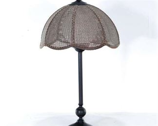 Contemporary Cane Shade Table Lamp