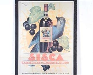 Large Vintage Sisca Wine Poster