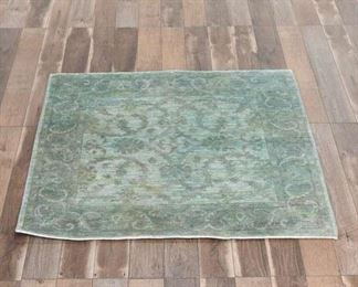 5'X5' Vintage Hand Tufted Mint Green Area Rug