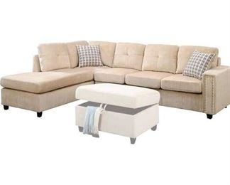 Belville Beige Reversible Sectional (Chaise Piece Only)