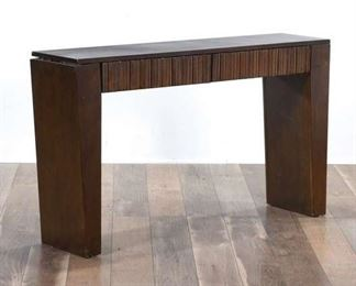 Contemporary Wedge Leg Console Table W Ridge Front