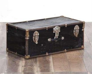 Antique Rustic Black Steamer Trunk