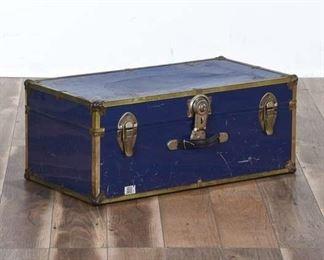 Vintage Blue & Brass Storage Trunk