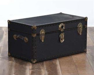 Black Leather Storage Trunk W Brass Hardware