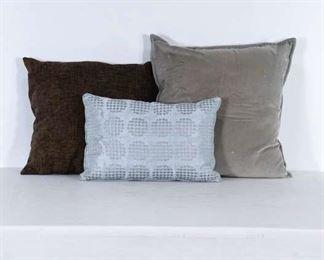 Set Of 3 Mix Lot Grey & Slate Blue Throw Pillows