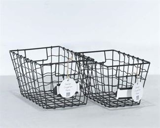 Pair Of Rustic Style Wire Baskets