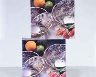 Pair Of Hasegawa Glass Bowls, Japan New In Box