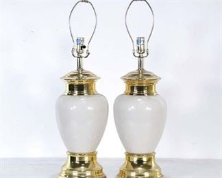 Pair Of White & Gold Ceramic Table Lamps