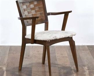 Armchair W/ Woven Back & Floral Seat