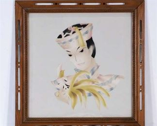 Framed Asian Portrait Artwork