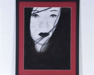 Framed Black Haired Pale Woman Painting