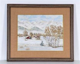 Large Framed Snowy Farm Painting