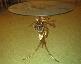 Gold and glass round end table one of 2