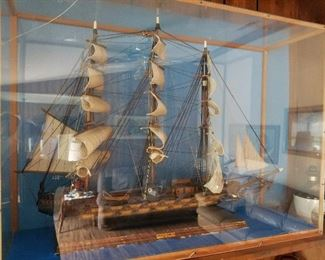 Large model ship in lexan display case