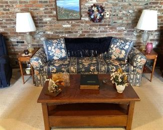 coffee table, sofa, lamps end tables,