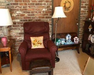 recliner,footstool, bench, floor lamp