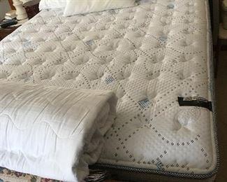 Queen size oak sleigh bed, mattress
