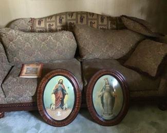 Antique Convex Framed Religious Art