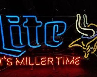 Minnesota Vikings Miller Lite Neon Light Sign