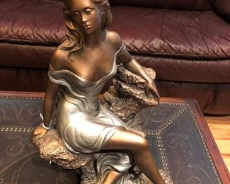 """Austin Sculpture """"Memories"""" AP379 Posing on a beautiful metal carved studded Theodore Alexander coctail/Coffee Table. Both in excellent condition."""