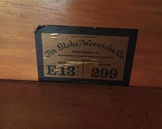 """GLOBE WERNICKE BARRISTER WITH 3 - 14"""" HIGH SECTIONS WITH BEVELED GLASS DOORS  AND A BOTTOM DRAWER"""