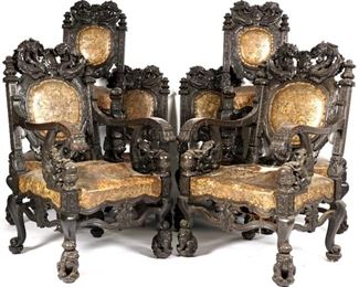 8 Chinese Qing Dragon Chairs