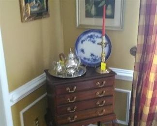 Four drawer Queen Anne silver chest, Williamsburg pewter tea set, Flow blue, Baldwin candle holder, small area rug