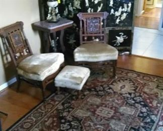 Four panel Oriental screen, Victorian chairs and ottoman, marble top table, figural lamp, oriental carpet
