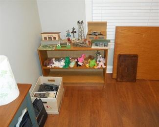 Shelf with Beanie Babies and Train Items