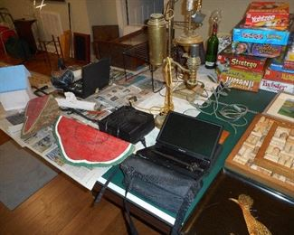 Antique Lamps For repair; Car DVD Player, Wood Painted Watermelons; etc