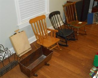 Antique Child's Rocking Chairs and Cradle