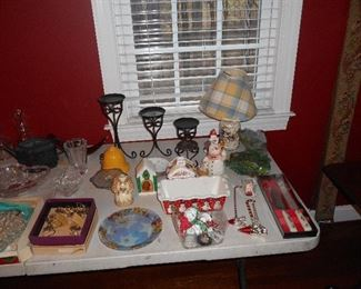 Household Items including Longaberger Foundry Candle Holders, Longaberger ar converted to lamp with Lamp Shade, etc