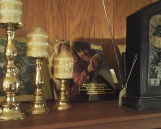 brass candle holder set, Ansonia antique clock (working)