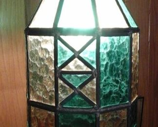 Stained glass swag lamp 1960's